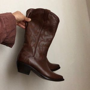 Frye boots leather western cowgirl brown 5.5